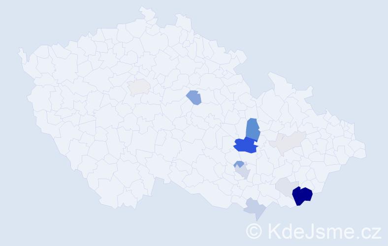 Příjmení: 'Klon', počet výskytů 50 v celé ČR