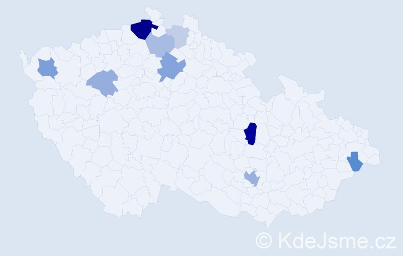 Příjmení: 'Ácsová', počet výskytů 22 v celé ČR