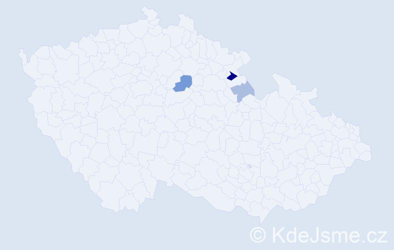 Příjmení: 'Hudcovic', počet výskytů 6 v celé ČR