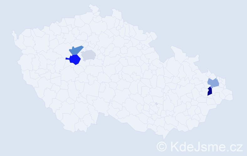 Příjmení: 'Komorovský', počet výskytů 5 v celé ČR