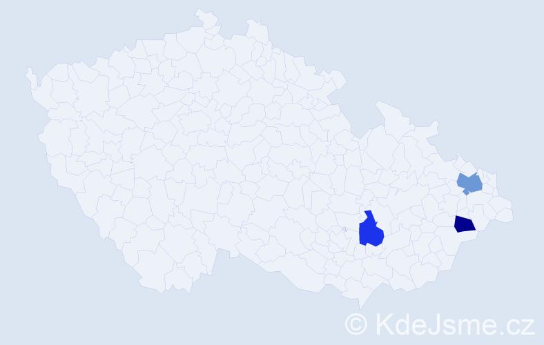 Příjmení: 'Kaličinský', počet výskytů 4 v celé ČR