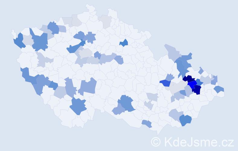 Příjmení: 'Ďurica', počet výskytů 147 v celé ČR