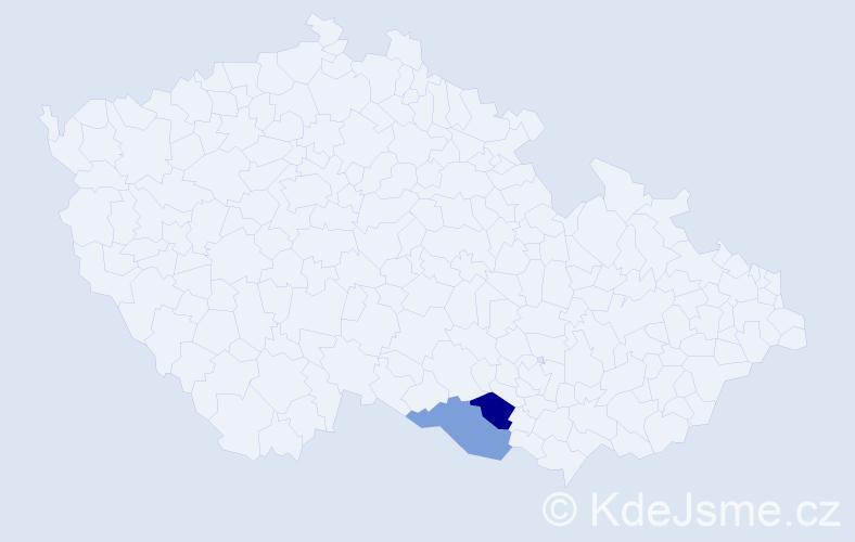 Příjmení: 'Hotovčinová', počet výskytů 4 v celé ČR