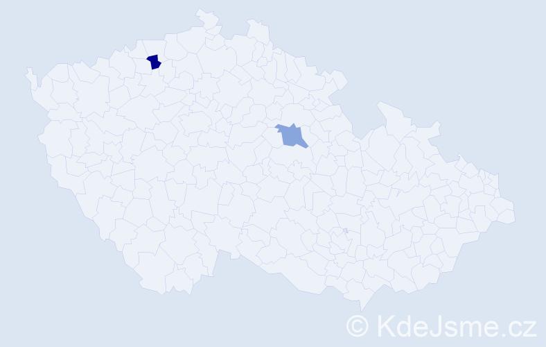 Příjmení: 'Chiriacová', počet výskytů 2 v celé ČR