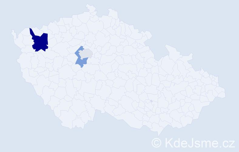Příjmení: 'Fikačová', počet výskytů 5 v celé ČR