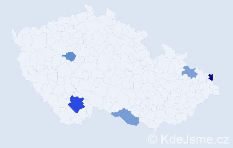 Příjmení: 'Hoschnová', počet výskytů 9 v celé ČR