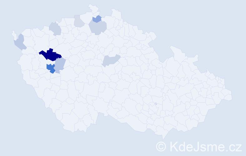 Příjmení: 'Fakan', počet výskytů 23 v celé ČR