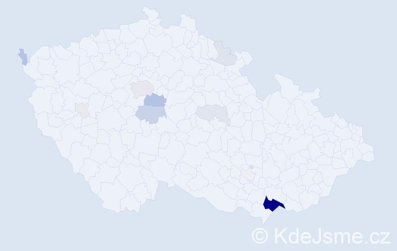 Příjmení: 'Goldschmied', počet výskytů 43 v celé ČR