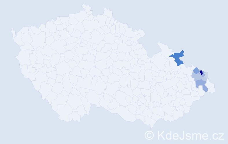 Příjmení: 'Blejchař', počet výskytů 46 v celé ČR