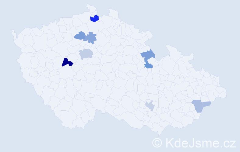 Příjmení: 'Erdingerová', počet výskytů 19 v celé ČR