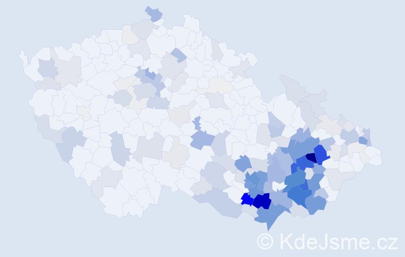 Příjmení: 'Krejčiřík', počet výskytů 691 v celé ČR