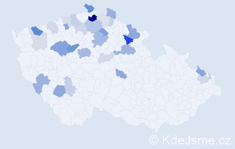 Příjmení: 'Kreibich', počet výskytů 87 v celé ČR