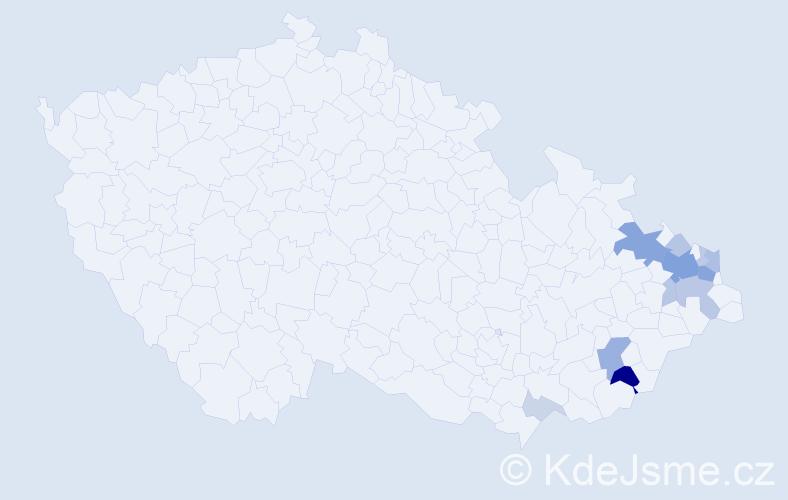 Příjmení: 'Helštýnová', počet výskytů 34 v celé ČR