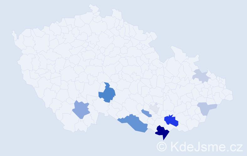 Příjmení: 'Karlínová', počet výskytů 27 v celé ČR
