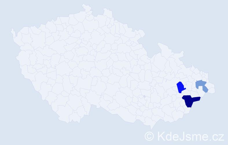 Příjmení: 'Cuha', počet výskytů 9 v celé ČR