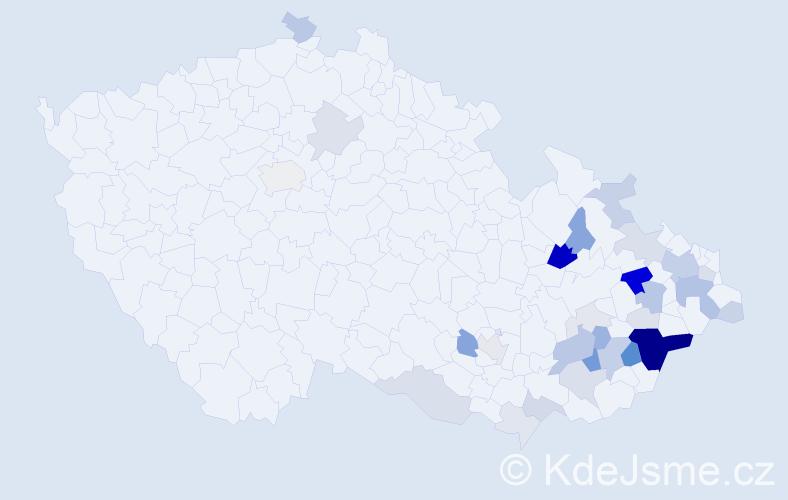 Příjmení: 'Galetka', počet výskytů 124 v celé ČR
