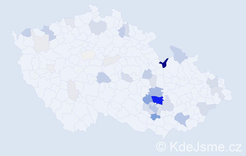 Příjmení: 'Čumová', počet výskytů 132 v celé ČR