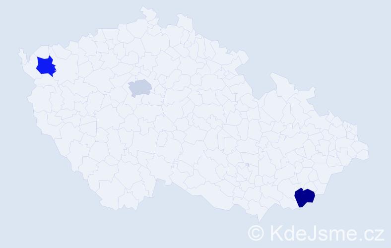 Příjmení: 'Čmola', počet výskytů 3 v celé ČR