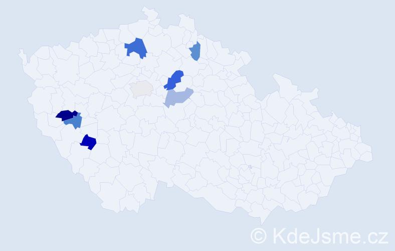 Příjmení: 'Hříšný', počet výskytů 12 v celé ČR