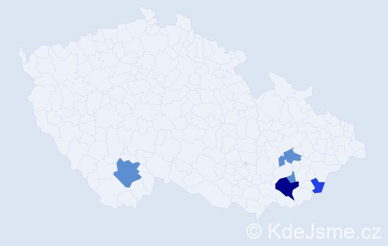 Příjmení: 'Kartusek', počet výskytů 12 v celé ČR