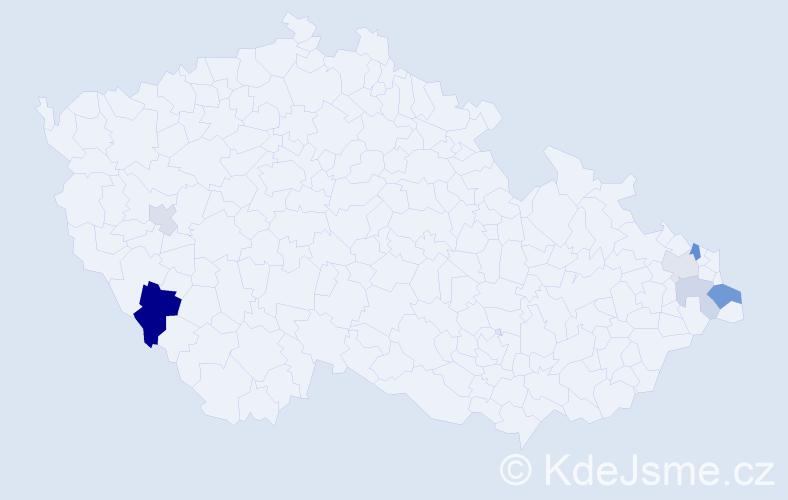 Příjmení: 'Capcarová', počet výskytů 12 v celé ČR