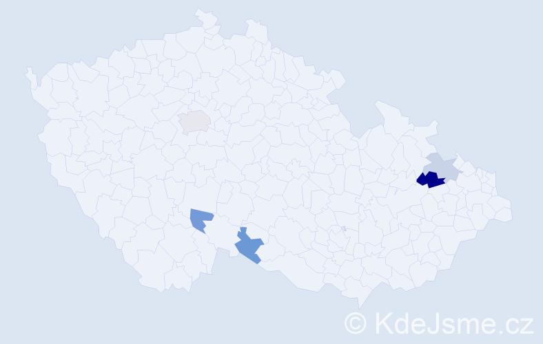 Příjmení: 'Madárová', počet výskytů 7 v celé ČR