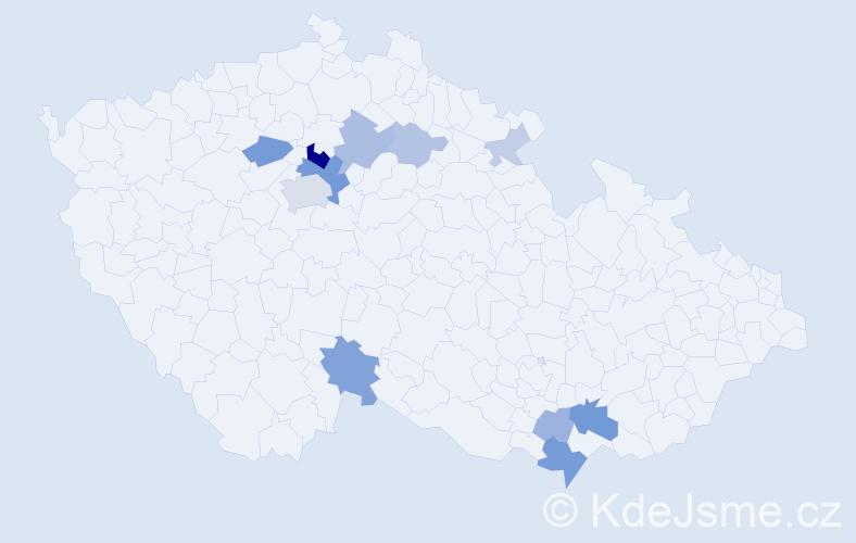 Příjmení: 'Jeřela', počet výskytů 29 v celé ČR