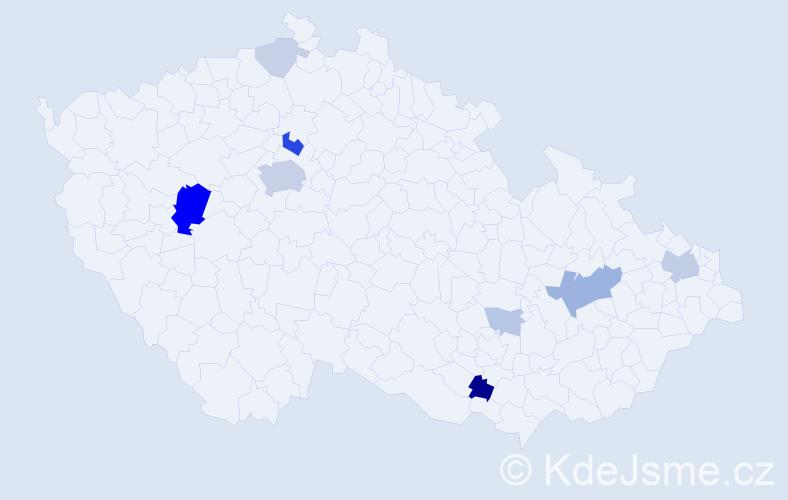 Příjmení: 'Čornej', počet výskytů 28 v celé ČR