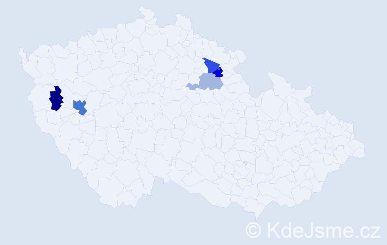 Příjmení: 'Grejcarová', počet výskytů 8 v celé ČR