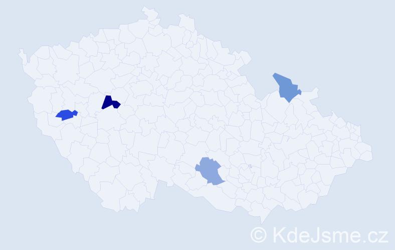 Příjmení: 'Holik', počet výskytů 5 v celé ČR