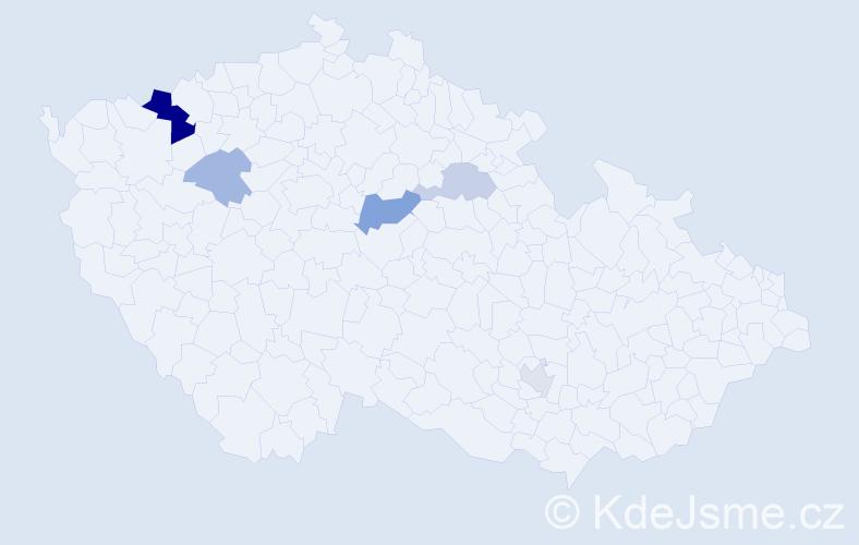 Příjmení: 'Erdei', počet výskytů 10 v celé ČR