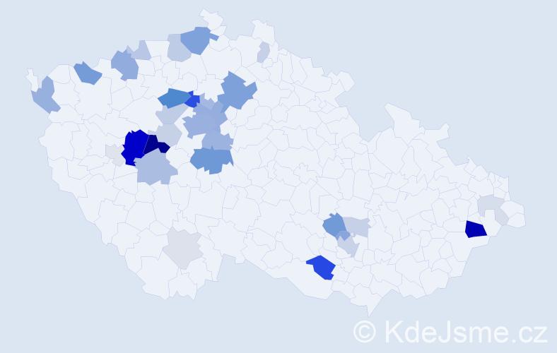 Příjmení: 'Ekl', počet výskytů 104 v celé ČR