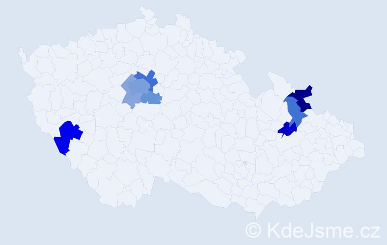 Příjmení: 'Gaidoš', počet výskytů 19 v celé ČR