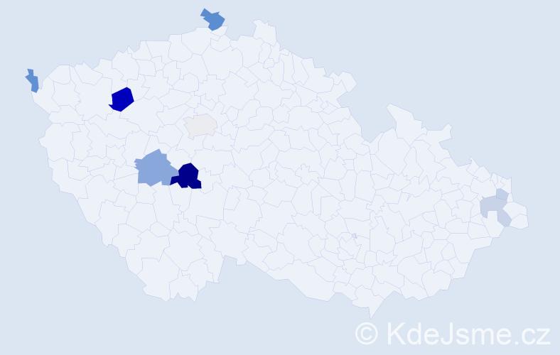 Příjmení: 'Dýslová', počet výskytů 13 v celé ČR