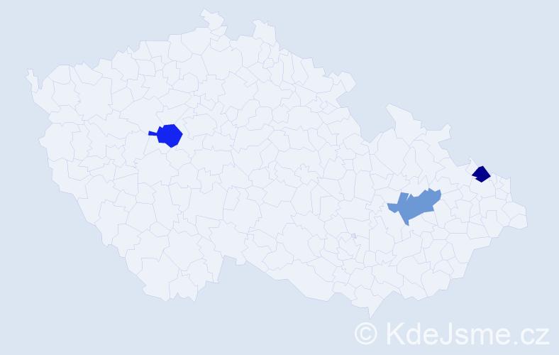 Příjmení: 'Hakveová', počet výskytů 3 v celé ČR