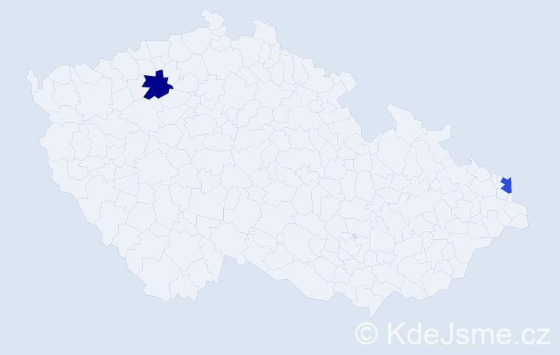Příjmení: 'Bischoftová', počet výskytů 2 v celé ČR