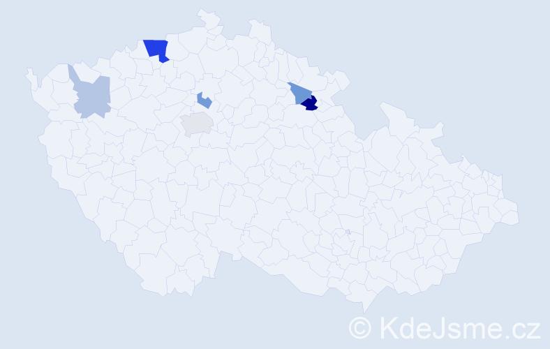 Příjmení: 'Lebovičová', počet výskytů 13 v celé ČR