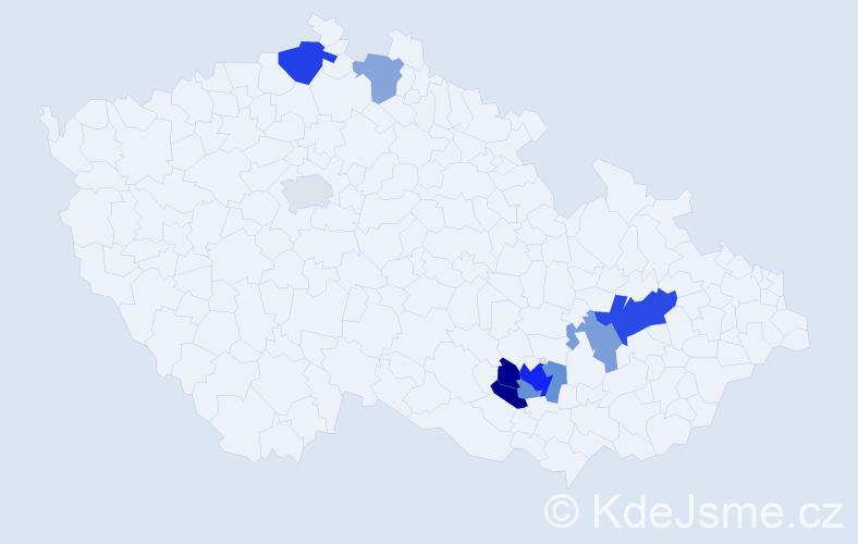 Příjmení: 'Lepilová', počet výskytů 18 v celé ČR