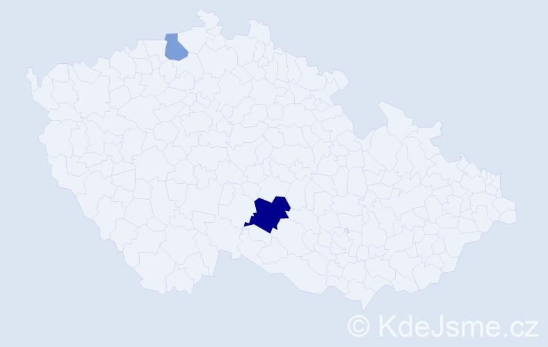 Příjmení: 'Garbierová', počet výskytů 4 v celé ČR