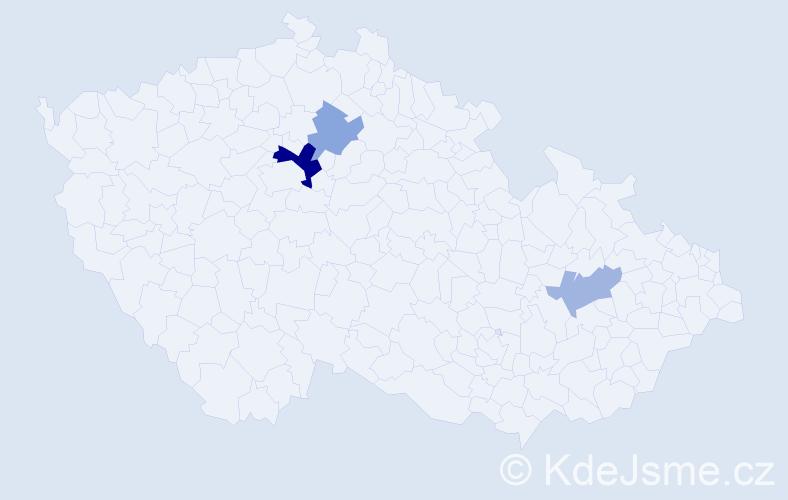 Příjmení: 'Kaló', počet výskytů 6 v celé ČR