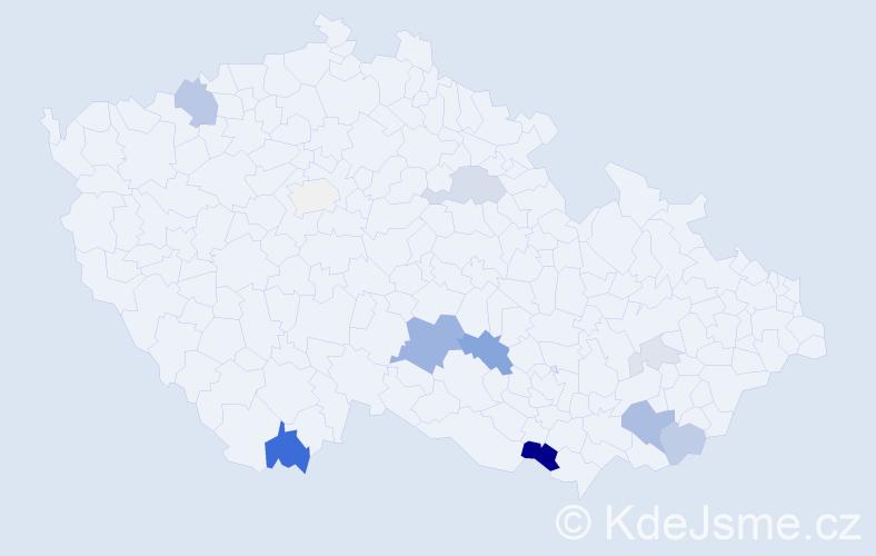 Příjmení: 'Jurkasová', počet výskytů 32 v celé ČR