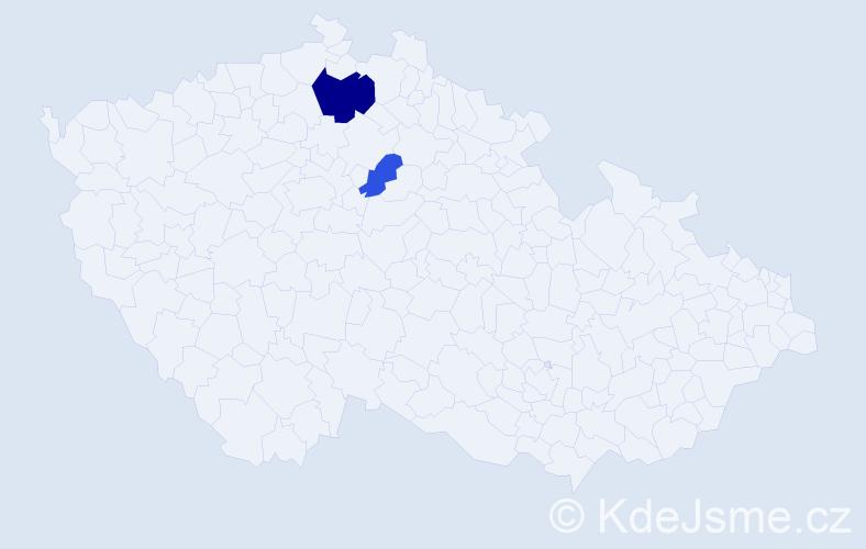 Příjmení: 'Ilutanová', počet výskytů 4 v celé ČR