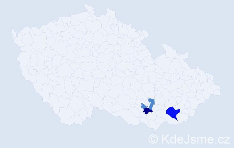 Příjmení: 'Kadahová', počet výskytů 4 v celé ČR