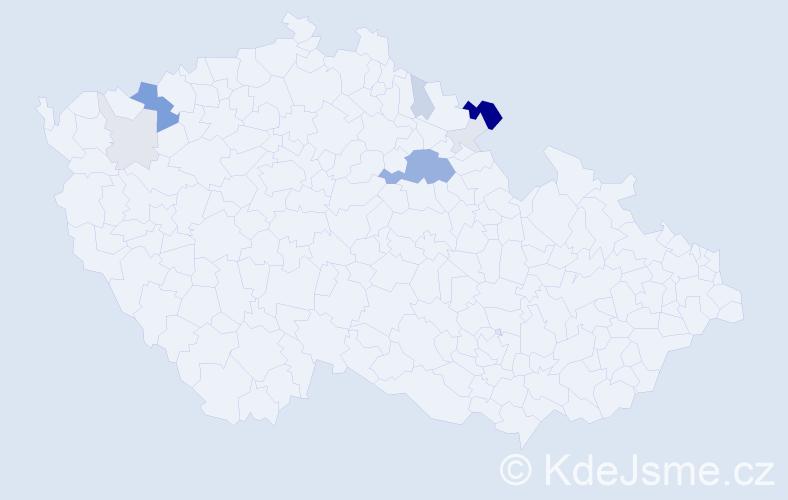 Příjmení: 'Bitvarová', počet výskytů 26 v celé ČR