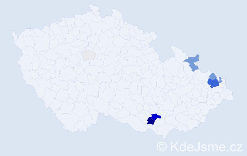 Příjmení: 'Česlíková', počet výskytů 16 v celé ČR