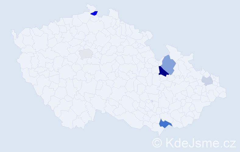 Příjmení: 'Bognarová', počet výskytů 8 v celé ČR