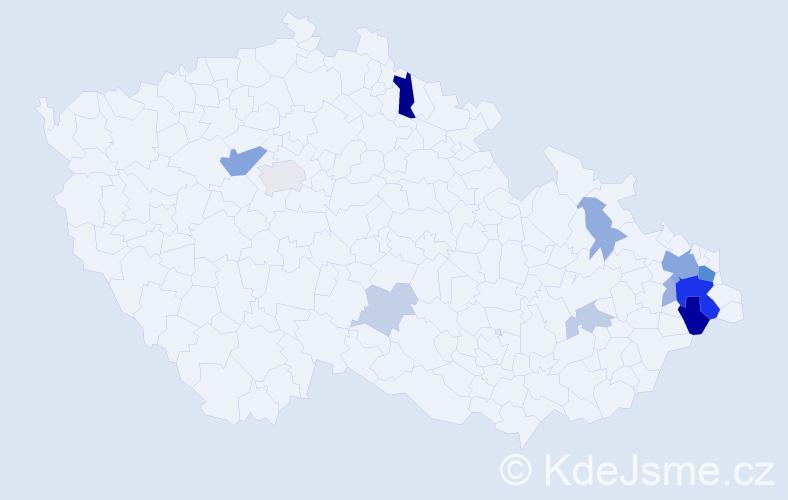Příjmení: 'Čadan', počet výskytů 34 v celé ČR
