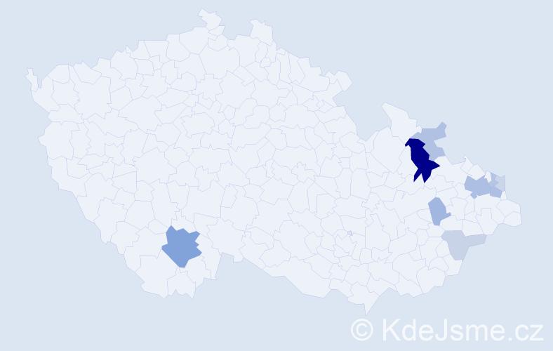 Příjmení: 'Domiterová', počet výskytů 24 v celé ČR