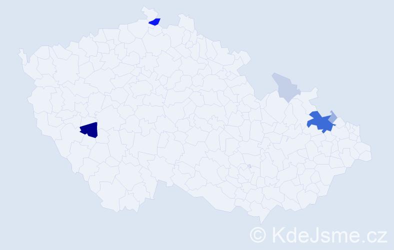 Příjmení: 'Fenko', počet výskytů 21 v celé ČR