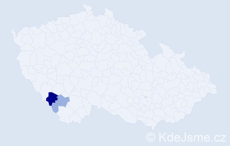 Příjmení: 'Kluibrová', počet výskytů 4 v celé ČR